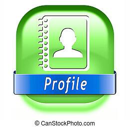perfil, botão
