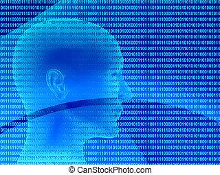 perfil, código binario, humano, 3d
