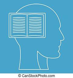perfil, cabeça, esboço, estilo, livro, ícone