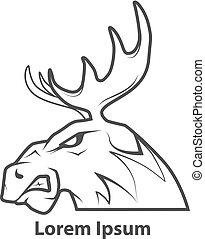 perfil, cabeça moose