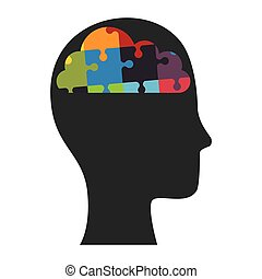 perfil, cabeça, quebra-cabeça, human