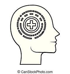 perfil, cabeça, símbolo, pluss