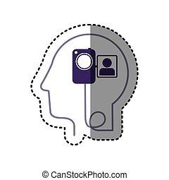 perfil, cabeça, silueta, adesivo, câmera, vídeo, human