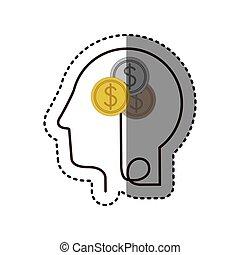 perfil, cabeça, silueta, adesivo, moedas, dólar, human, símbolo