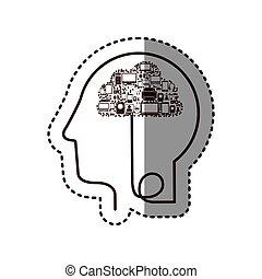 perfil, cabeça, silueta, adesivo, tech, human, dispositivo