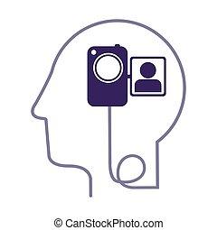 perfil, cabeça, silueta, câmera, vídeo, human