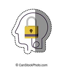 perfil, cabeça, silueta, human, adesivo, padlock, fechado