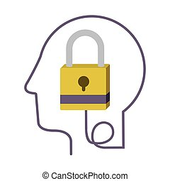perfil, cabeça, silueta, human, padlock, fechado