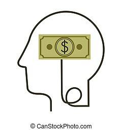 perfil, cabeça, silueta, símbolo, conta, dólar, human