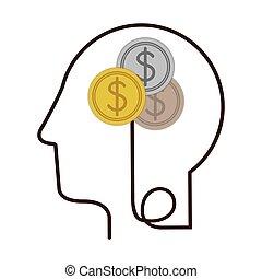 perfil, cabeça, silueta, símbolo, moedas, dólar, human