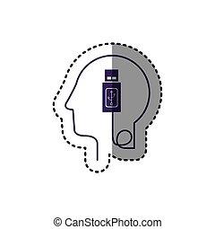 perfil, cabeça, silueta, usb, adesivo, human, dispositivo