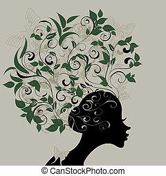 perfil, cabelo, folhas, decorado, menina