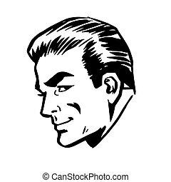 perfil, cabeza, arte, cara, retro, sonriente, línea, hombre
