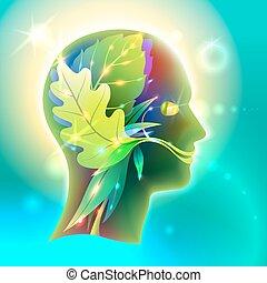 perfil, cabeza, hombre, naturaleza