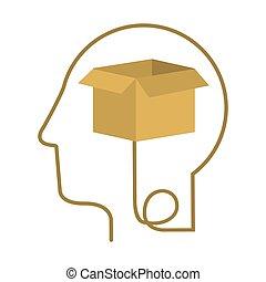 perfil, caixa, cabeça, silueta, human, caixa papelão