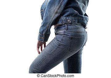 perfil, calças brim, mulher, roupas