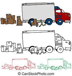 perfil, camión en movimiento, vista