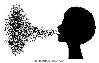 perfil, cantante, mujer