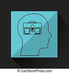 perfil, concepto, silueta, empresa / negocio, maleta