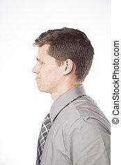 perfil, confundido, homem negócio