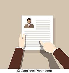 perfil, contratar, candidato, currículo, recrutamento, trabalho, posição, mãos, entrevista, vitae, ter, cv
