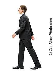 perfil, de, andar, homem negócio