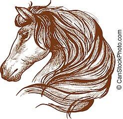 perfil, de, cavalo, com, fluir, mane, esboço, estilo