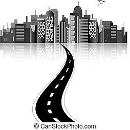 perfil de ciudad, con, camino