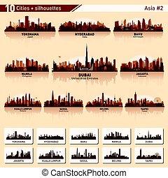 perfil de ciudad, conjunto, 10, vector, siluetas, de, asia,...
