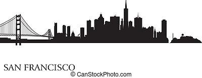 perfil de ciudad de san francisco, silueta, plano de fondo