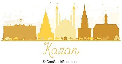 perfil de ciudad, dorado, kazan, silhouette.