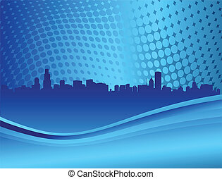 perfil de ciudad, en, el, azul, backround