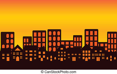 perfil de ciudad, en, ocaso