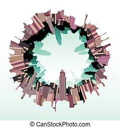perfil de ciudad, fisheye