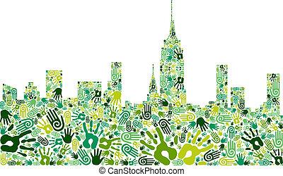 perfil de ciudad, fondo verde, manos, ir