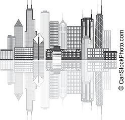 perfil de ciudad, grayscale, ilustración, chicago