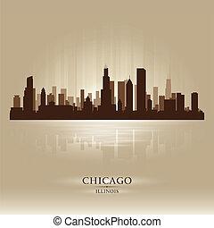 perfil de ciudad, illinois, silueta, chicago