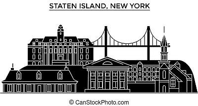 perfil de ciudad, isla, edificios, viaje, estados unidos de...