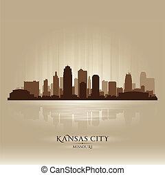 perfil de ciudad, kansas, silueta, misuri