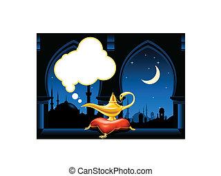 perfil de ciudad, lámpara mágica, árabe