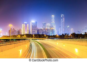 perfil de ciudad, moderno, plano de fondo
