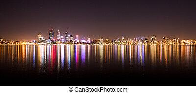 perfil de ciudad, noche, perth, panorama