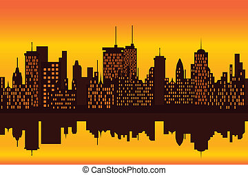 perfil de ciudad, ocaso, o, salida del sol