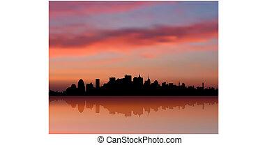 perfil de ciudad, ocaso, york, plano de fondo, internet, nuevo