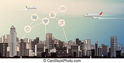 perfil de ciudad, plano de fondo