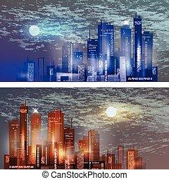perfil de ciudad, por la noche, con, luna, en, el, cielo