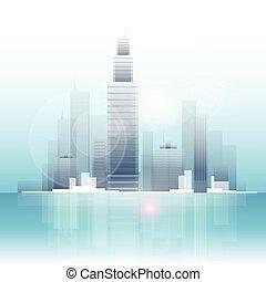 perfil de ciudad, rascacielos, plano de fondo, cityscape, vista