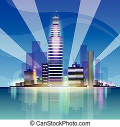 perfil de ciudad, rascacielos, plano de fondo, noche, cityscape, vista