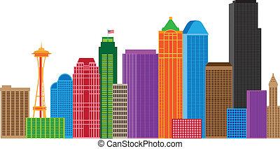 perfil de ciudad, seattle, colores, ilustración
