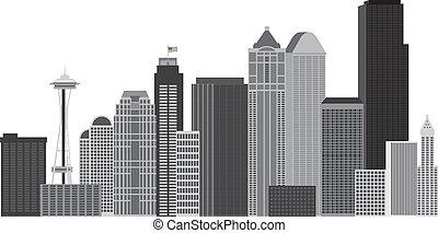 perfil de ciudad, seattle, grayscale, ilustración